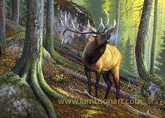 THE OLD WOODSMAN by Dallen Lambson #wildlife #elk #art #painting
