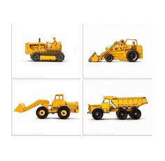 Vintage Toy BullDozer, Dumptruck, Tractor and Loader on White, Set of Four 11x14 Photographic Prints, Boys Room decor, Construction Trucks. $85.00, via Etsy.