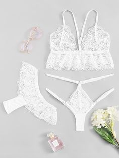 Shop Floral Lace Lingerie Set With Thong online. SHEIN offers Floral Lace Lingerie Set With Thong & more to fit your fashionable needs. Lace Lingerie Set, Vintage Lingerie, Women Lingerie, Women's Dresses, Glamour, Trendy Swimwear, Lingerie Outfits, Lingerie Collection, Lace Bodysuit