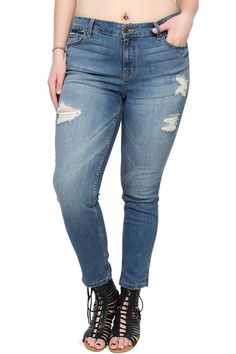 TheMogan Women's Ankle Slit Destroyed Distressed Skinny Jeans Medium 3XL. Low rise ; Fitted through skinny legs with ankle slits. Fade wash with destroyed detailing. Five pocket styling. Stretch for comfort. 73% cotton 14% rayon 11% polyester 2% spandex.