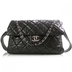 "CHANEL Caviar Maxi Flap Messenger Bag Black. Length: 16"" Height: 11"" Depth: 5"" Drop: 8"""