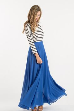 This maxi skirt is all you could have asked for and more! With flowy layers, a flattering silohuette and gorgeous cobalt blue color, this skirt is bright essential for your wardrobe. Just take a momen