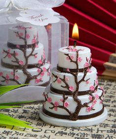 Cherry Blossom Candle Wedding or Party Favor - Asian Wedding - Japanese Wedding - Zen Wedding