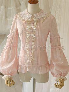 Cotton Lolita Blouse Long Sleeves Gigot Sleeves Lace Trim - Milanoo.com