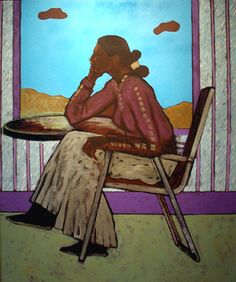"T.C. Cannon painting ""Woman in Folding Chair"" Oklahoma Indian artist Native American"