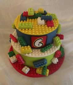 lego cake, my grandson would like this. Lego Torte, Lego Cake, Fondant Cakes, Cupcake Cakes, Lego City Birthday, Cake Birthday, Bolo Lego, Chocolate Hazelnut Cake, Cakes For Boys