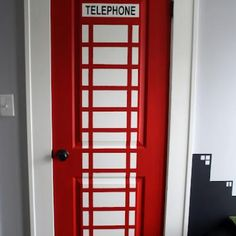 Superman's Telephone Booth {How to Paint a Door} I love this!  Too bad Payten likes spiderman more :(