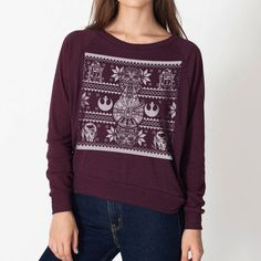 Gift for Her Ladies Sweater Ugly Christmas Sweater Star Wars Christmas... ($38) ❤ liked on Polyvore featuring tops, black, sweatshirts, women's clothing, sweater pullover, raglan top, holiday shirts, black evening tops and shirts & tops
