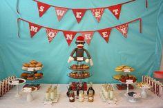 Sock Monkey Baby Shower by Stephanie of Pretty Lovely Events via www.babyshowerideas4u.com #babyshowerideas4u