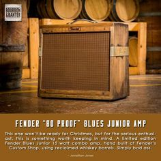 This one won't be ready for Christmas, but for the serious enthusiast, this is something worth keeping in mind. A limited edition Fender Blues Junior 15 watt combo amp, hand built at Fender's Custom Shop, using reclaimed whiskey barrels. Fender Guitar Amps, Fender Stratocaster, Diy Guitar Amp, Fender Bender, Speaker Amplifier, Whiskey Barrels, Fender Custom Shop, Ham Radio, Holiday Gift Guide