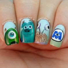 Amazing Monsters Inc. Funky Nail Art, Cute Nail Art, Cute Nails, Pretty Nails, Disney Acrylic Nails, Summer Acrylic Nails, Girls Nail Designs, Cute Nail Designs, Cute Nail Polish