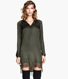 """Satin tunic from HM. Can't decide whether I like the """"robin hood green"""" but the satin + short + long sleeve + lace trim = winner.."""