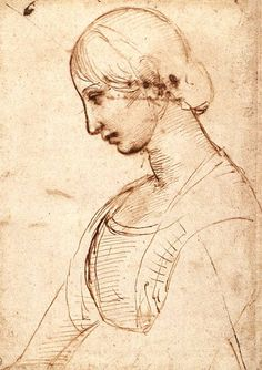 "Raphael, (aka Raffaello Sanzio) Waist-lenght Figure of a Young Woman Date: 1506 Movement: Renaissance (High Italian, ""Cinquecento"") Theme: Portrait Technique: Pen and ink Museum: Uffizi Galleries Location: Florence, Italy Renaissance Kunst, High Renaissance, Michelangelo, Art Ancien, Italian Painters, Great Paintings, Western Art, Gravure, Acrylic Art"