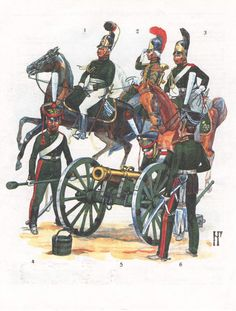 Guard Horse Artillery (1-2)  Officer & Trumpeter, 1805-07, (3) Gunner, 1812-14. Guard Foot Artillery 1812, (4-5) Gunners, (6) Officer.