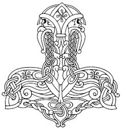 Norse and Viking Leather Art Bone Jewelry and Drinking Horns by Wodenswolf: Thor's Hammer 2012 Viking Designs, Celtic Designs, Viking Symbols, Viking Art, Celtic Tattoos, Viking Tattoos, Hammer Drawing, Thor Hammer Tattoo, Norse Mythology Tattoo