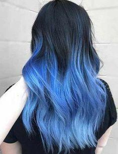 Braune haare blaue spitzen