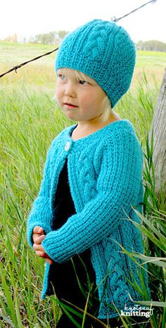 Knitting Pattern - Little Amelia hat and cardigan is a modern and seamless knit for little girls. Click through to get the pattern!