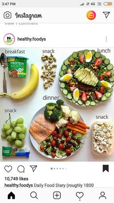 Healthy meal plan and snacks :). Healthy, wholesome and satisfying! Healthy Meal Prep, Healthy Snacks, Healthy Eating, Healthy Recipes, Clean Eating, Eat Better, Lunch Snacks, Lunches, Food Diary