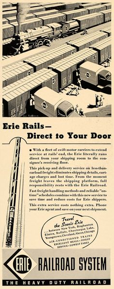 This is an original 1938 black and white print ad for Erie Railroad System. CONDITION This 73+ year old Item is rated Very Fine. Light aging in margins. No creases. No natural defects. No surface rub.
