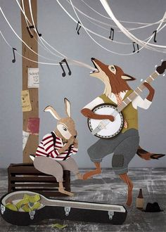"""The Buskers"" Paper Cut out illustration of fox and hare by Jayme McGowan"