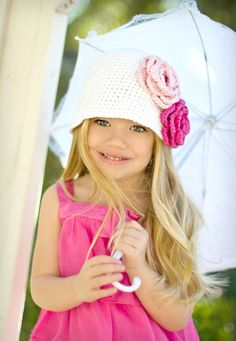 Crocheted Cloche Hat The Emma Rose White Hot Pink
