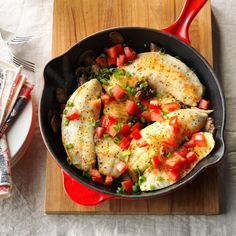 Lemon-Pepper Tilapia with Mushrooms Recipe -My husband and I are trying to add more fish and healthy entrees to our diet and this one makes it easy. It comes together in less than 30 minutes, so it's perfect for hectic weeknights. —Donna McDonald, Lake Elsinore, California