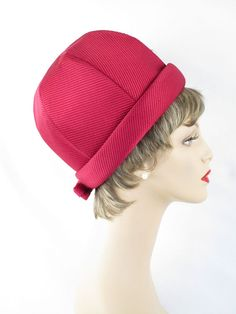 Vintage 1960s Hat Ruby Red Cuffed Cloche Sz 21 by alleycatsvintage