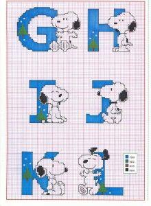Snoopy alphabet part 2 - free cross stitch pattern Cross Stitch Letters, Cross Stitch Baby, Cross Stitch Charts, Cross Stitch Designs, Cross Stitching, Cross Stitch Embroidery, Embroidery Patterns, Stitch Patterns, Hand Embroidery