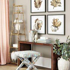 Meet Margo - a sleek console table that doubles as a striking desk. Gallery Wall Living Room Couch, Desk In Living Room, Console Table Behind Sofa, Porch Furniture, Ballard Designs, Ladder Decor, Home And Family, Interior Design, Meet