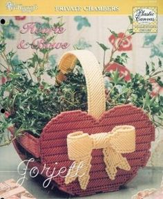 Hearts & Bows Basket, plastic canvas pattern in Crafts, Needlecrafts & Yarn, Needlepoint & Plastic Canvas Plastic Canvas Stitches, Plastic Canvas Crafts, Plastic Canvas Patterns, Bow Pattern, Hexagon Pattern, Cross Stitch Needles, Flower Basket, Pattern Books, Flower Patterns