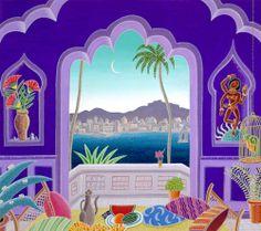 Thomas McKnight, Jaipur Lake Pavilion Thomas Mcknight, Meditation Images, Art Thomas, Music Painting, Watercolor Painting, Naive Art, Bedroom Art, Artist Art, Pattern Art