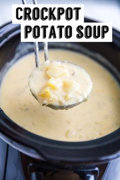Crockpot Potato Soup- an easy and delicious slow cooker dinner! Crockpot Potato Soup- an easy and delicious slow cooker dinner! Slow Cooker Potato Soup, Crock Pot Potatoes, Crock Pot Soup, Easy Crockpot Potato Soup, Dinner Crockpot, Crock Pots, Crockpot Recipes, Cooking Recipes, Soup Recipes