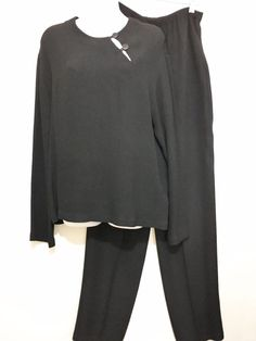 Hino & Malee Womens M Black Pullover Top & Pants Outfit Vintage Made in USA #HinoMalee
