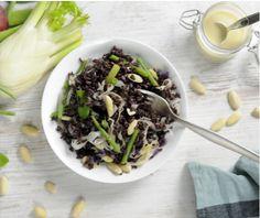 VENERE NERO by Frichti /// riz vénéré, haricots verts, pois gourmand, fenouil, amandes, oignons rouges + vinaigrette santé (huile tournesol, huile d'olive, moutarde, miel, citron, vinaigre Xérès)