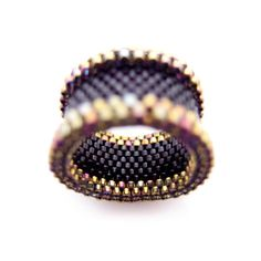 Black and Gold Ring Black Ring Beaded Ring by JeannieRichard