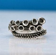 Inktvis tentakel Ring Sterling zilveren tentakel juwelen verstelbare ring…