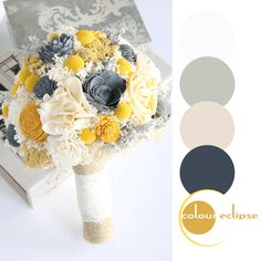 wedding bouquet with color palette, mustard yellow, pantone spicy mustard, dark navy, bright yellow, light beige, eucalyptus green, chalk white