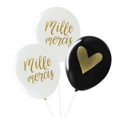Ces 3 ballons seront parfaits lors d'un mariage placés près de votre urne ou, sur une photo pour les remerciements. Ces ballons sont en latex biodégradable et sont fabriqués en France. Ballons with french message : Merci. Thank you in french