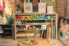 Studio for organizing acrylic paints | katie daisy