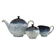 This 3 piece Halo tea set, made in England by Denby, includes a teapot, lidded sugar bowl and milk jug. All styled in the stunning Halo speckled design. Tea Gift Sets, Tea Gifts, Tea Set, Denby Pottery, Halo Collection, Halo 3, Milk Jug, Stoneware Clay, Sugar Bowl