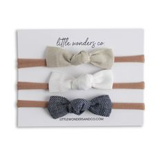 Luna | Petite Knot Bow Set - Latte   Snow   Denim