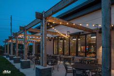Restaurant Patio Bistro String Lights by McKay Landscape Lighting Omaha Nebraska