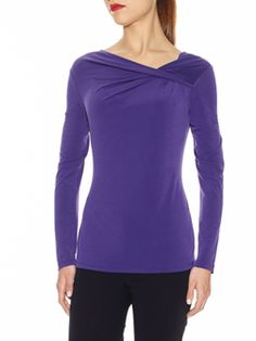 "Doncaster.com-W225BL27EGG.  Asymmetric Twist Neckline Blouse In Synthetic Stretch. Hand-twisted neckline, full length sleeves, topstitching at neckline, hem and cuffs. Unlined, 26"". Hand wash in cold water, mild detergent, dry flat or dry clean. Imported. 95% POLYESTER, 5% SPANDEX"