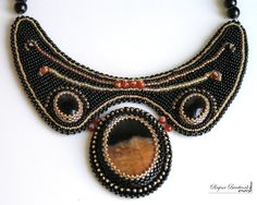 Bead Embroidery necklace brown black  Sunset in the by Reginao, $100.00