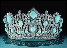 """Napoleon's Crown For His Empress Marie Louise: Napoleon I gave this Crown to his consort Empress Marie Louise. Set in silver, the 950 Diamonds weigh 700 carats. The 79 Original Emeralds have been replaced with Persian Turquoise Cabochons. From the Gem and Mineral Collection of the Smithsonian's National Museum of Natural History."""