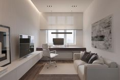 Intelligence: A Modern Apartment with An Open Space Concept Design Guest Room Office, Home Office Setup, Home Office Space, Office Interior Design, Office Interiors, Home Interior, Home Room Design, House Design, Modern Home Offices