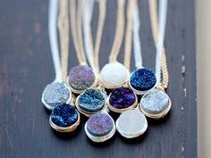 Druzy Bezel Pendant Necklaces by Saressa Designs | Gorgeous!  How to pick a color...