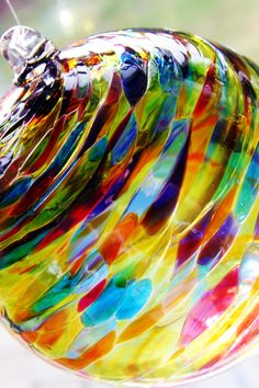 Studio blown glass ball - From the New York City Botanical Gardens.
