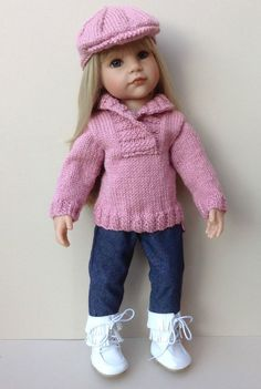 HAND KNIT OUTFIT FOR AMERICAN GIRL OR GOTZ 18inch DOLL