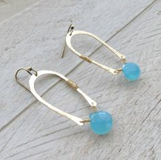 Brass horseshoe earrings horseshoe jewelry by BLUEskyBLACKbird, $30.00